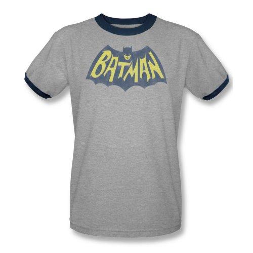 Batman Classic Logo Cartoon Vintage Style DC Comics Adult Ringer T-Shirt Tee
