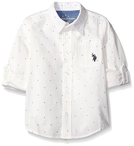 U.S. Polo Assn. Little Boys' Long Sleeve Printed Cotton Woven Sport Shirt, White, 5/6 (Shirt Woven White Sleeve)