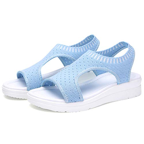 Women's Breathable Wedge Heel Woven Casual Comfort Hollow Out Casual Wedges Cloth Shoes Sandals Espadrille Sky Blue - Out Sump