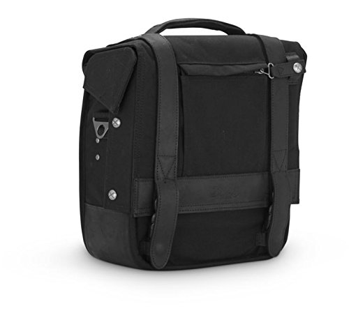 Burly Brand Voyager Saddlebag/Messenger Bag in Black - Made from Durable 1000-Denier CORDURA Fabric with Leather Straps - MADE IN THE USA