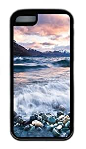 iPhone 5C Case, iPhone 5C Cases -Stones Beach Wave Mountains Clouds TPU Rubber Soft Case Back Cover for iPhone 5C Black