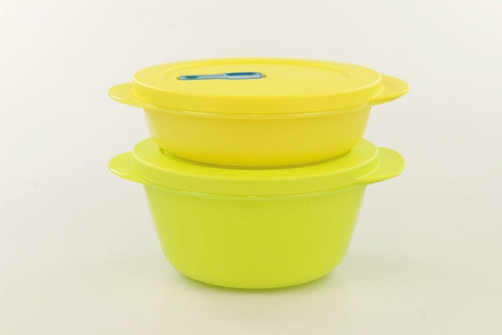 TUPPERWARE CrystalWave bowl 800 ml giallo verde + 400 ml giallo 28957