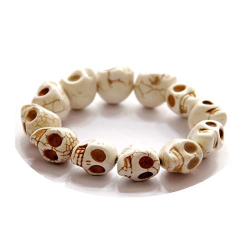- TOKO Skull Bead Bracelets Elastic Charm Skull Strand Bracelet Women Men - White