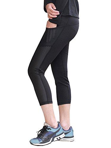 Ferbia Womens Workout Yoga Pants High Waist Sport Fitness Running Mesh Capri Leggings with Pockets