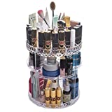 Choice Fun 360 Degree Makeup Organizer Acrylic Rotating 6-Layer Storage Tower Rack Bathroom Holder,Clear 8.7 * 8.7 * 12.2 Inches