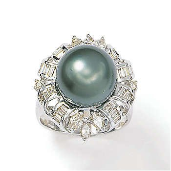 18kt. Ring Black Sterling Silver Pearl Round Marquise Uite Baggette Diamond (Size 8)