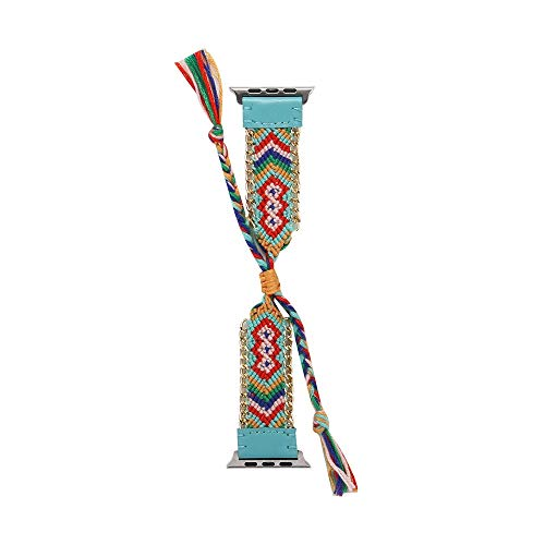 RTYou Watch Band for Apple Iwatch,Women Stylish Hand Knit Woven Leather Strap Replacement Watch Band for Apple Watch Series 1/2/3 38mm (Light Blue)