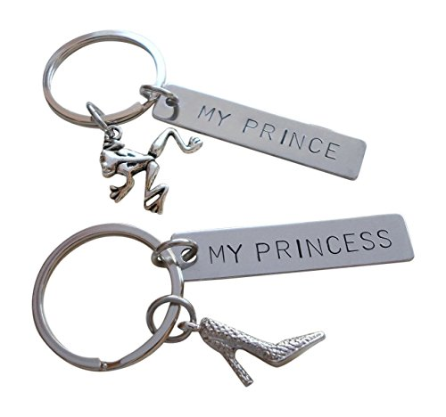 Frog Prince Keychain and Princess Shoe Keychain with Stainless Steel Tag Keychain Stamped with