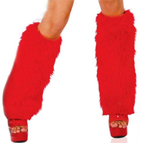 Unigds 3Color Sexy Faux Fur Leg Warmers Rave Fluffies Lady Boot Cover Santa Christmas (Red) -
