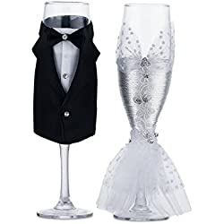 Wedding Tuxedo Dress Wine Glasses-ULA Handmade Bride and Groom Champagne Flutes for Toasting,Wedding Gifts,Bridal Shower Gifts,Wedding Favors,Couples Gifts,Wedding Decorations(set of 2)