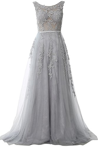 Dress Formal Gown Evening Vintage Silver Women Boat Long Party Prom MACloth Lace Neck SzqZRXP