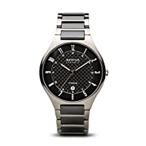 BERING Time Men's Full Titanium Collection Watch with Ceramic Link Band and scratch resistant sapphire crystal. Designed in Denmark. 11739-702