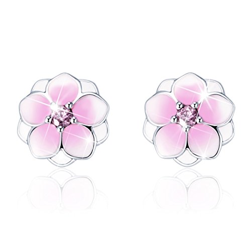 Bamoer Sterling Silver Magnolia Flowers CZ Stud Earring for Valentine Day Gift