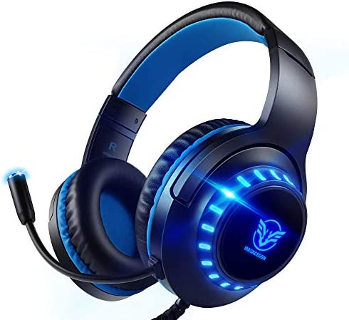 Pacrate PS4 Headset with Microphone for Laptop Computer Nintendo Xbox One Headset Noise Cancelling Gaming Headphones with Microphone Stereo Gaming Headset PC for Kids Adults LED Lights Deep Bass