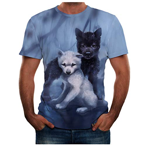 iHPH7 T Shirt 3D Print Shirts Dog Graphic Tees Summer New Full Plus Size Cool Top Blouse for Men (XXXL,31- Blue) -