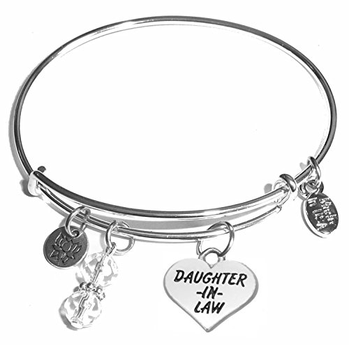 Message Charm (22 words to choose from) Expandable Wire Bangle Bracelet, in the popular style, COMES IN A GIFT BOX! (Daughter in Law)
