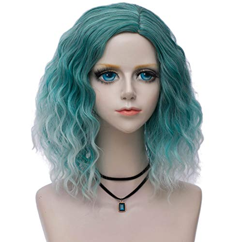 Probeauty Pop Collection Ombre Beach Wave Short Lolita Curly Wigs for Women + Wig Cap (Ombre Forest Green)