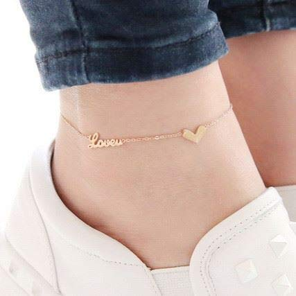 Color Gold Foot Chain Anklet Ankle Bracelet Jewelry Flower Ring 14k Rose Plated Women Girls Fashion Steel Does not Fade Anti Allergy (16# loveu Love Money