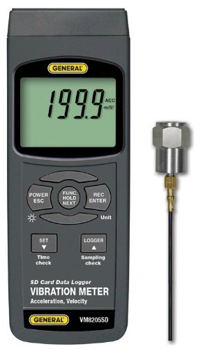General Tools VM8205SD Vibration Meter, With Data Logging SD Card by General Tools
