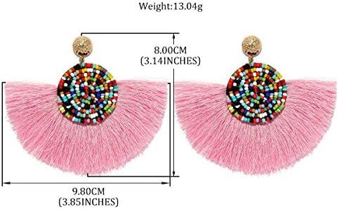 MOOCHI Women Manmade Colorful Round Beads Semi-Circle Tassel Bohemian Long Drop Hoop Dangle Earrings
