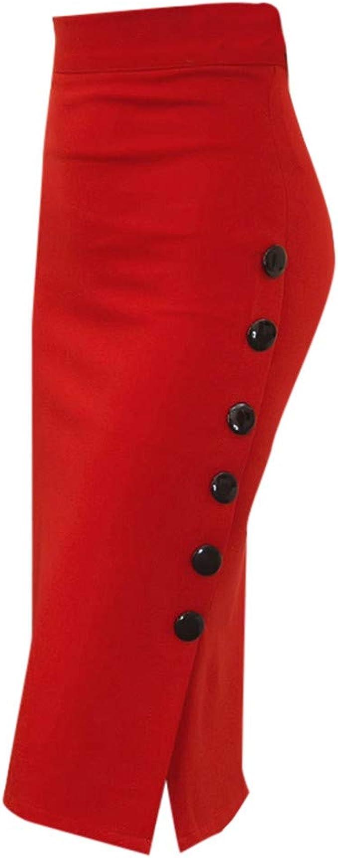 Cardith - Falda para Mujer, Falda de Escritorio con Botones de ...