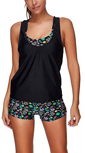 (Women's Sports Bra Print Tankini Swimwears Racerback Vest with Boyshort Three Piece Swimsuit in Plus Size Bathing Suits for Women (S1314, Large))