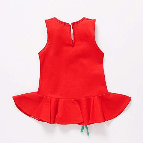 Beladla Vestido Niñas Cordón Para Fiesta Princesa Floral De Bowknot Rojo Bebé Vestir frqrndx