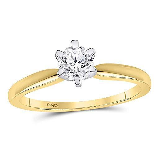 14k Yellow Gold Diamond Solitaire Engagement Ring Wedding Anniversary 1/2 ct