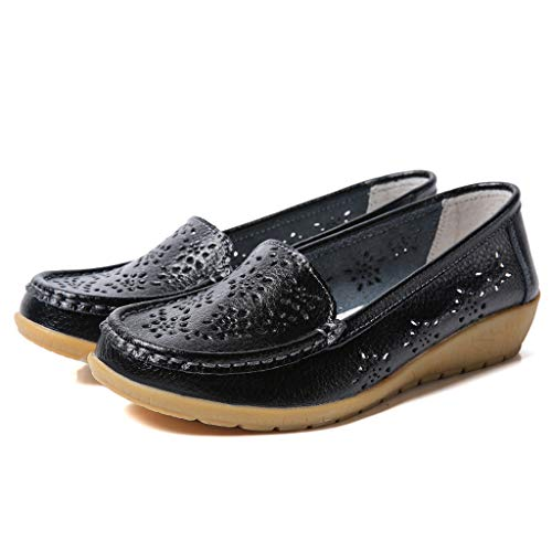 Haalife◕‿Women Soft Sole Loafers Women's Leather Loafers Moccasins Wild Driving Casual Flats Oxfords Breathable Shoes Black