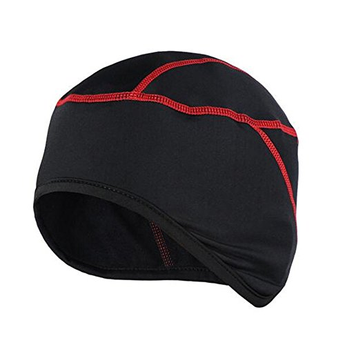 Skull Cap,West Biking Winter Fleece Bicycle Helmet Liner / Running Beanie - Ultimate Performance Moisture Wicking for Youth Adult MTB Road Cycling - Cap Red Liner