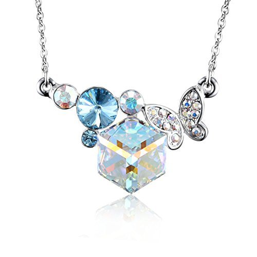 Silver Necklace with Cube Crystal-Butterfly Round Rhinestone with Rainbow Crystal Gifts for Women and - Rainbow Butterfly Necklace