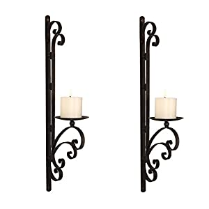 Adeco HD0010 Iron Vertical Wall Hanging Candle Holder Sconce, 3 Dimensional  Scroll Design, Holds One Pillar Candle Each (Set Of Two)Black With Antique  ...