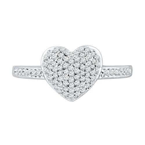 Sterling Silver White Round Diamond Heart Ring (1/4 cttw) by D-GOLD (Image #1)