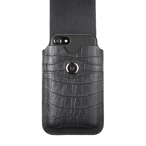 Blacksmith-Labs Barrett Mezzano 2017 Premium Genuine Leather Swivel Belt Clip Holster for Apple iPhone 6/6s/7 (4.7'') for use with Apple Leather Case - Black Croc Embossed Cowhide/Gunmetal Belt Clip by Blacksmith-Labs (Image #4)