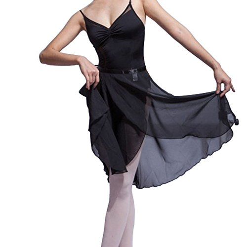 HOEREV Adult Sheer Wrap Skirt Ballet Skirt Ballet Dance Dancewear, Medium, Black - Skirt Dancewear