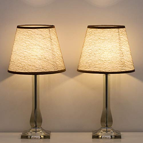 - HAITRAL Bedside Table Lamps Set of 2 - Modern Bedside Desk Lamps with Acrylic Base, Stylish Nightstand Lamps for Bedroom, Living Room, Office, College Dorm, Den - Black (HT-TH100-41X2)