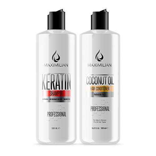 Keratin Shampoo And Conditioner- Shampoo For Keratin Treated Hair with Coconut Oil Hair Conditioner - Keratin Complex- Shampoo And Conditioner For Color Treated Hair And All Hair Types (2x16.9 Fl Oz)