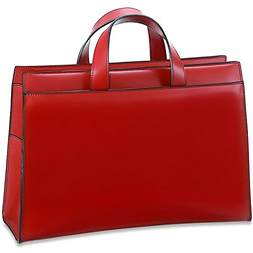 Jack Georges Milano Collection Women's Top Zip Leather Business Tote in Red - Zip Top Fashion Tote