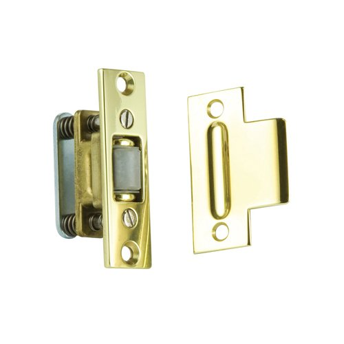 Baldwin 0432.030 Extra Heavy Duty Roller Latch with T-Strike, Polished Brass - Lacquered