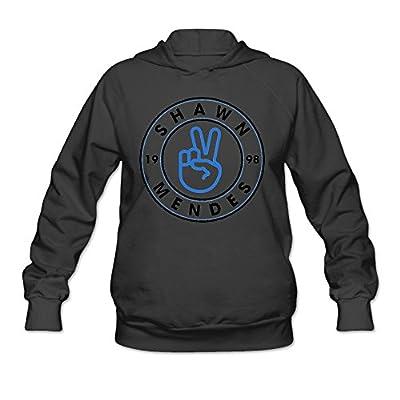 JIN TENG Shawn Pattern Mendes Women's Funny Hooded Sweatshirt Black