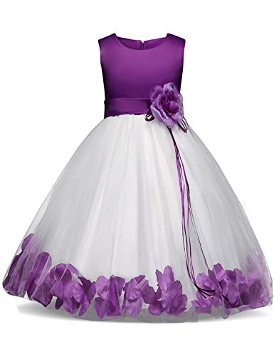 NNJXD Girl Tutu Flower Petals Bow Bridal Dress for Toddler Girl Size (110) 3-4 Years Purple