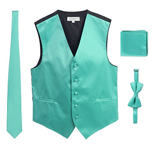 (Gioberti Men's Formal Vest Set, Bowtie, Tie, Pocket Square, Mint, X Small )