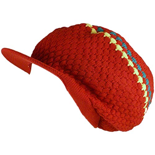 SSK Rasta Knit Tam Hat Dreadlock Cap (Large Round Red/Red/Yellow/Green - Tam Jamaican