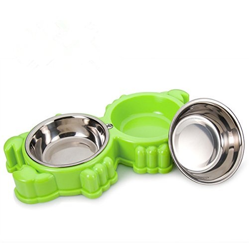 - KeTango Small Pet Bowls & Cat Dog Bowl,Pet dish Feeding Station with Stainless Steel Pet Water Food Feeder for Cats Dogs and other Small Animal (Green)