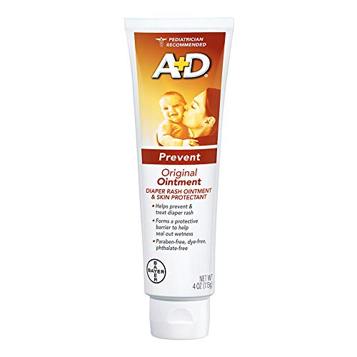 A+D Original Diaper Rash Ointment, Baby Skin Protectant With Lanolin and Petrolatum, Seals Out Wetness, Helps Prevent Diaper Rash, 4 Ounce Tube ()