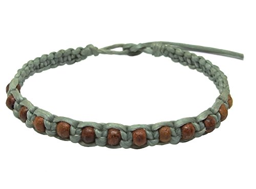 Thai Buddha Fashion Art Handmade Bracelet Gray Wax String Brown Wood Beads Wristband Thailand