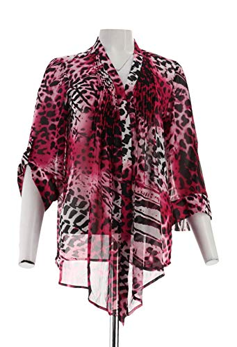 Susan Graver Printed Chiffon Cascade Front Cardigan Pleats Pink M New A222428