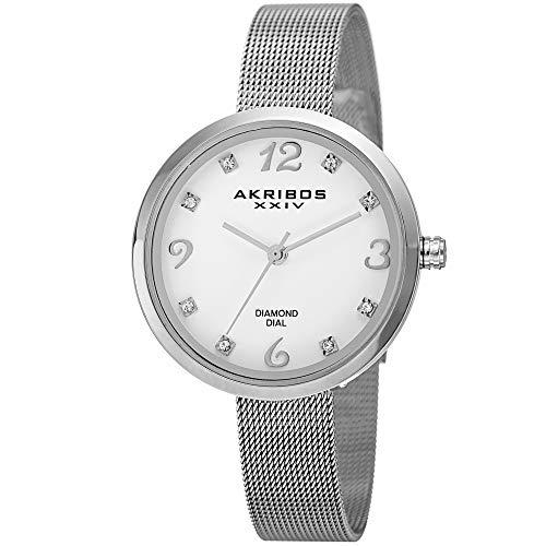 Akribos XXIV Women's Mother of Pearl Watch - 8 Genuine Diamond Hour Markers Stainless Steel Mesh Bracelet - AK875