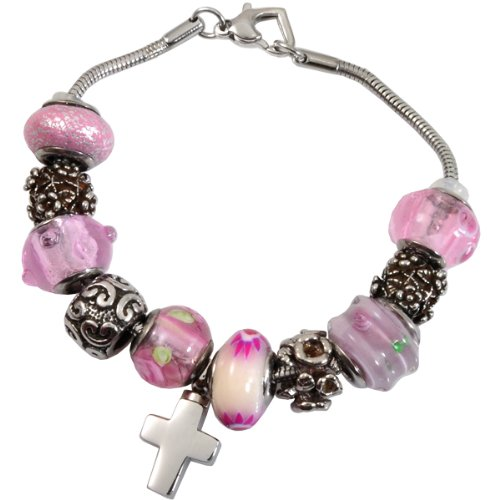 Memorial Gallery Memorial Pink Remembrance Bead Pet Cross Urn Charm Bracelet, 7''