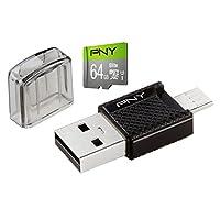 PNY 64GB microSD Card Elite 85MB/s, U1 with OTG Reader (P-OTGCR64GMSC3-GE)